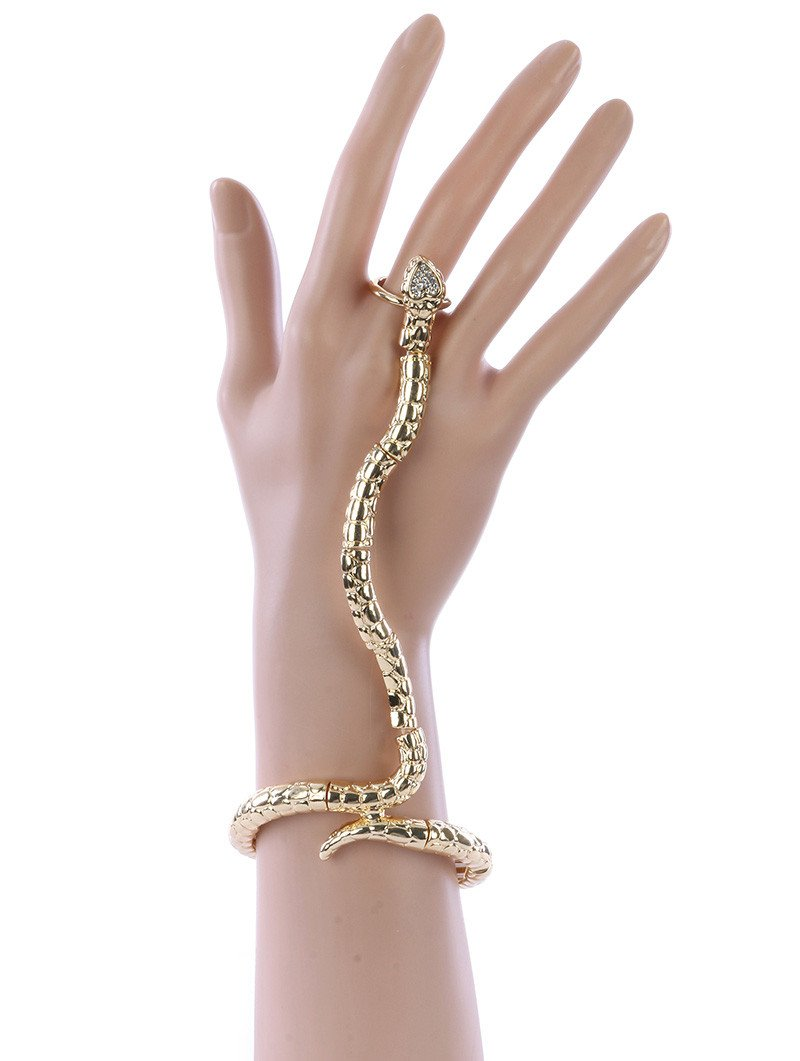 Chic Ring Connected Snake Hand Chain Bracelet